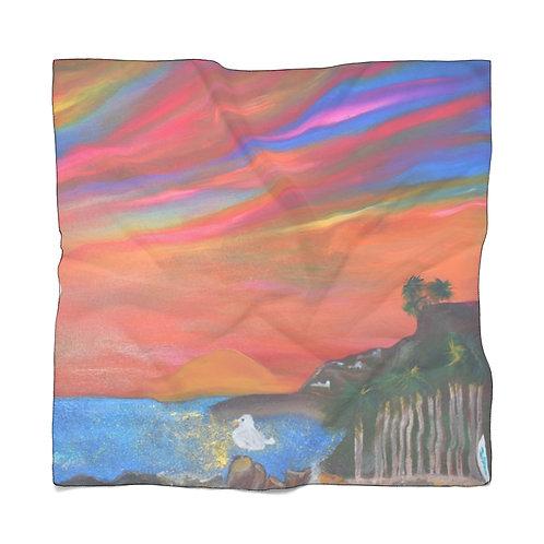San Pedro California Scarf   Royal Palms Beach   Sunset Painting Scarf   Summer