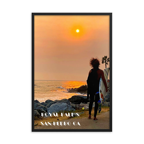 San Pedro California Royal Palms Beach Surf Sunset Framed poster