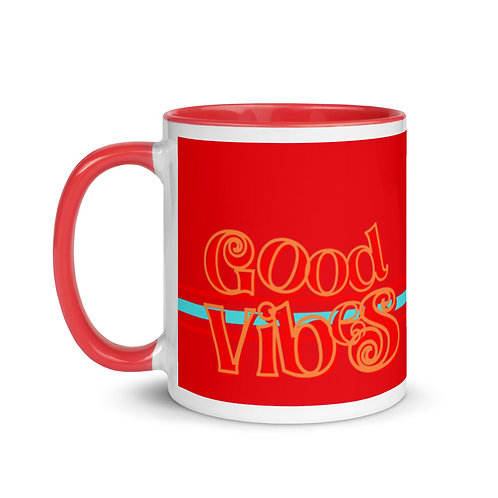 Good Vibes Red Mug with Color Inside