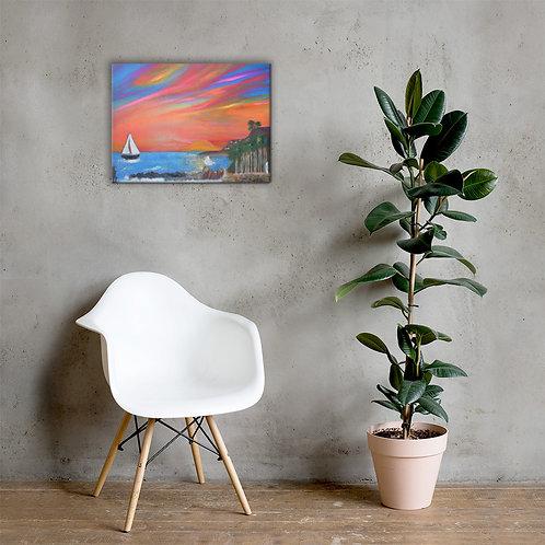 San Pedro California Royal Palms Beach Canvas Painting Print