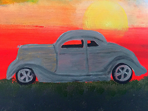 Note Card Vintage Car Coupe Sunset