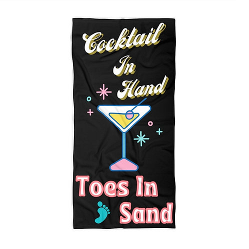 Beach Towel Black Retro Cocktail In Hand Toes In Sand Vintage