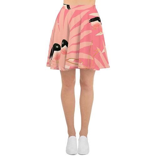 Pink Bird Pattern Skater Skirt