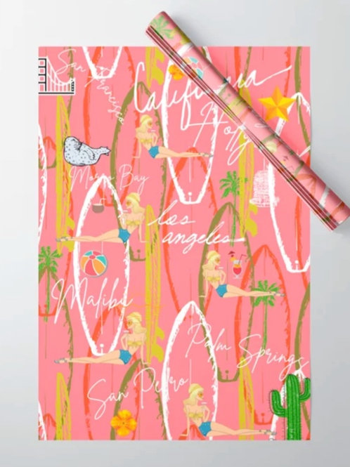 California Vintage Pink Wrapping Paper