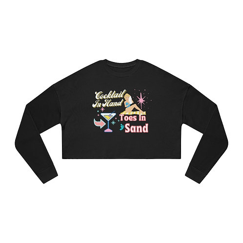 Women's Cropped Sweatshirt   Vintage Girl   Mid-Century Design   Retro