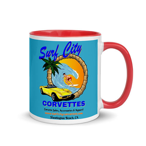 Surf City Corvettes Blue Mug with Color Inside