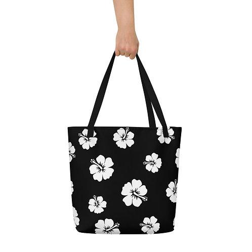 Black Beach Bag White Hibiscus Flowers | Large Tote Bag