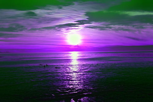 Note Card Sunset 04 Purple Photography By Concetta Ellis