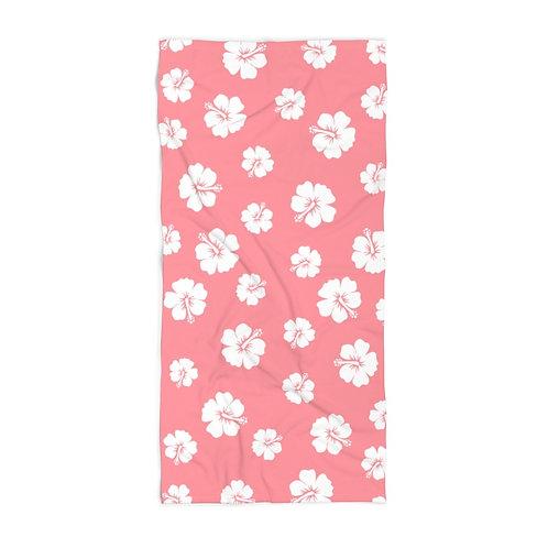 Pink Beach Towel White Hibiscus Flowers
