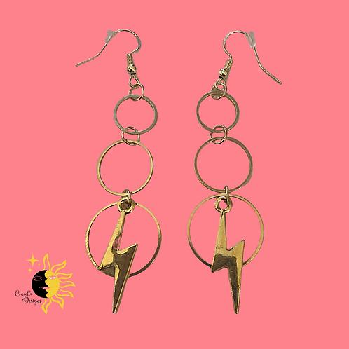 Lightning Bolt Earrings, Gold Hoops, Tiered Hoop Earrings, Retro Jewelry, Rock N