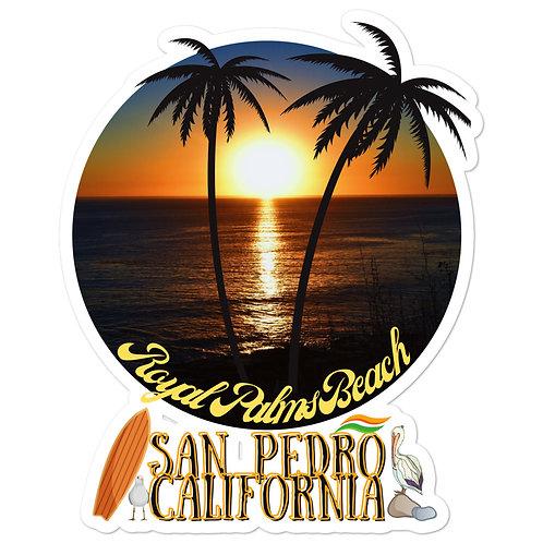 San Pedro California Royal Palms Beach Stickers Bubble Free