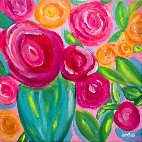 Note Square Card Painting Of Abstract Whimsical Flowers