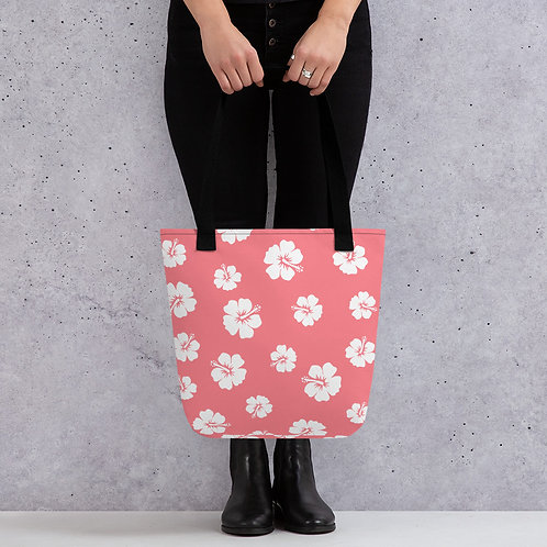 Pink Tote bag | White Hibiscus Flowers