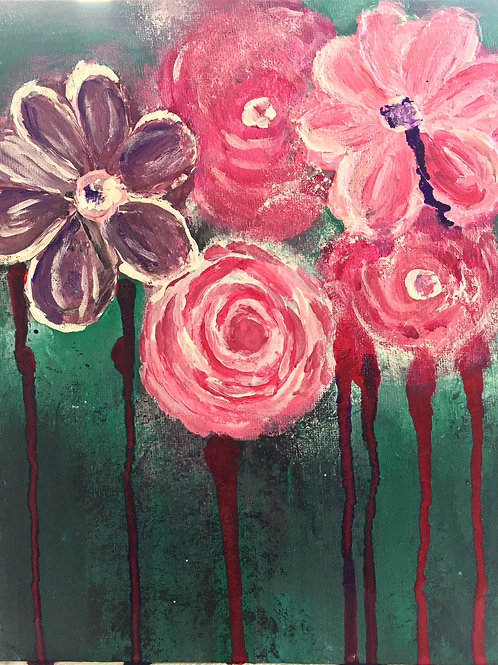 Note Card Dripping Flowers Painting By Concetta Ellis