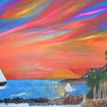 Painting Royal Palms Beach San Pedro Cal