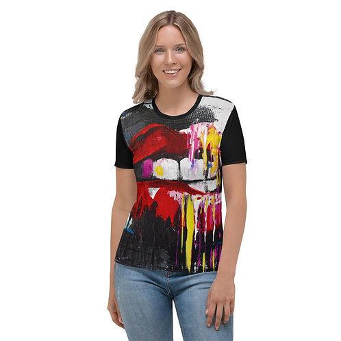 Abstract Lips Rock N Roll Women's T-shirt
