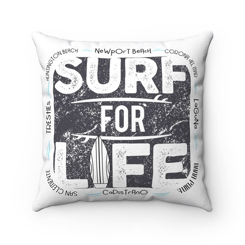 Surfer Pillow | White Surf Pillow And Case | Orange County Surf Pillow |
