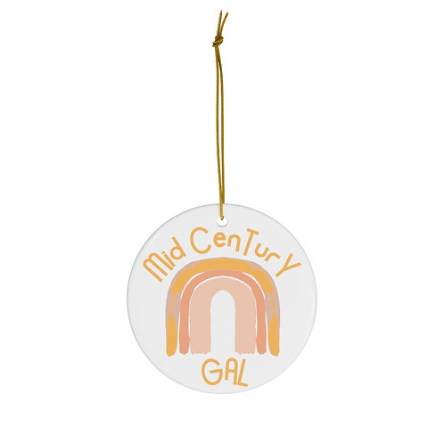 Mid-Century Gal, Christmas Ornament, Pink And Gold, Retro, Gift For Her, Boho