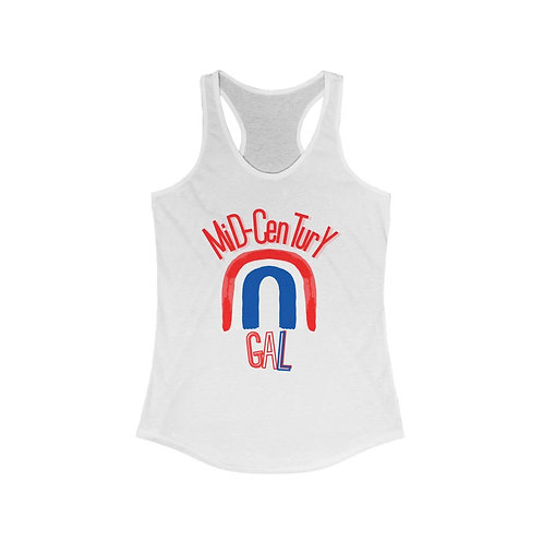 Mid-Century Gal Tank Top   Red, White And Blue   4th Of July Ladies Tank Tee