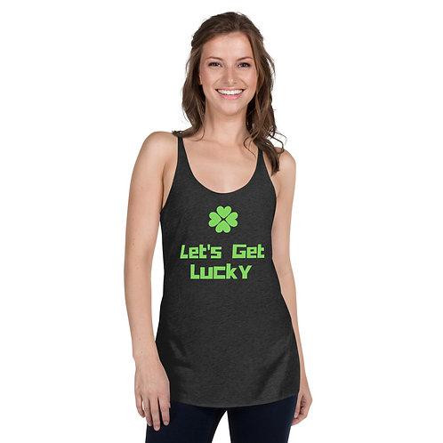 St Patrick's Day Let's Get Lucky Shamrocks Women's Racerback Tank Top