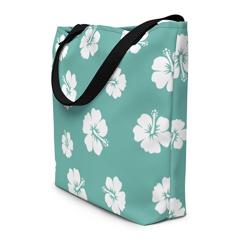 Turquoise Beach Bag With White Hibiscus Flowers | Large Tote