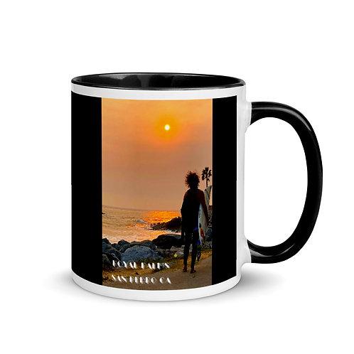 San Pedro California Surf Black Mug with Black Color Inside