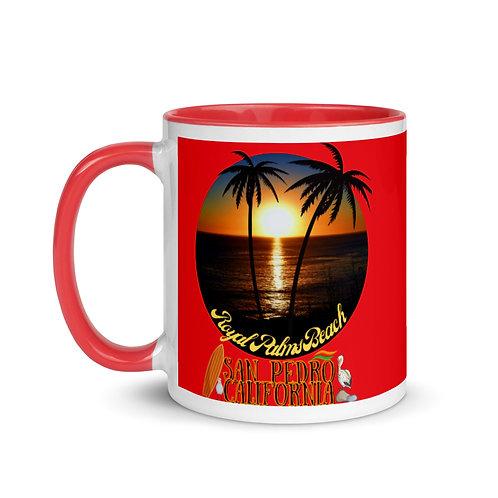 San Pedro California Red Mug with Color Inside | Royal Palms Beach Logo