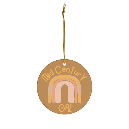 Mid-Century Gal, Christmas Ornament, Gift For Her, Boho, Thanksgiving, Gold