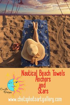 Anchors And Stars Girl On Beach Towel ww