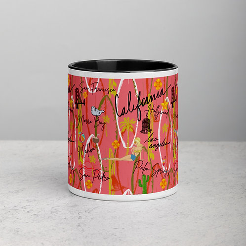 California Vintage Retro Pink Mug with Color Inside