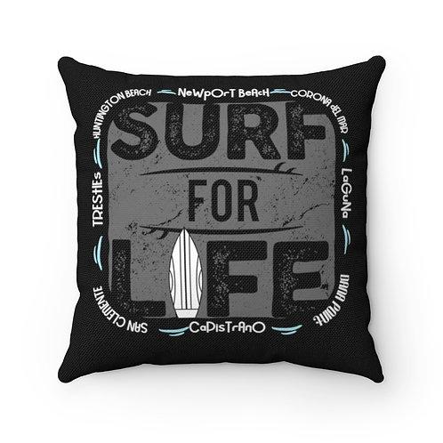 Surfer Pillow | Black Surf Pillow And Case | Orange County Surf Pillow