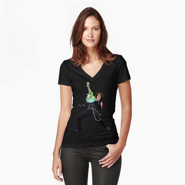 T-shirt V-neck Women Rock Band Jeff Elli