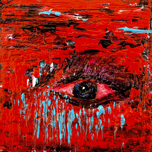 """Note Card EYE """"HURT EMOTIONS"""" Abstract Art By Concetta Ellis"""