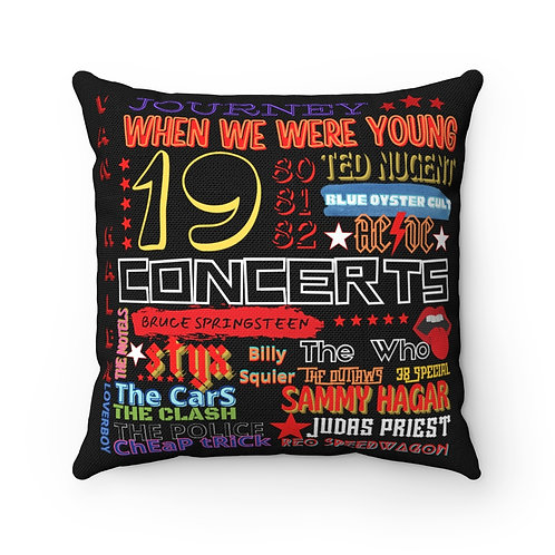 80's When We Were Young Square Pillow | Black