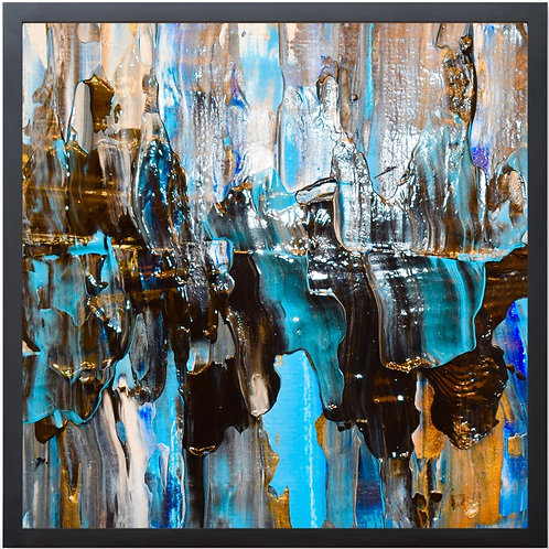 """Framed Abstract Painting Print """"WATERFALL #2"""" Blues And Gold By Concetta Ellis"""