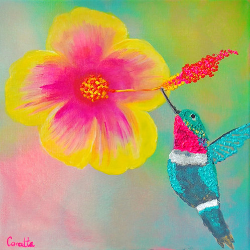 "Note Card Square Painting ""A Gift For Mom"" Hummingbird Hibiscus"