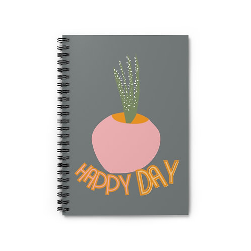 """Mid-Century Girl Black Spiral Notebook Ruled Lined, Positive Quote """"Happy Day"""""""