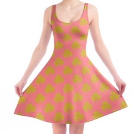 Women's Vintage Pink Gold Shamrocks Skater Dress