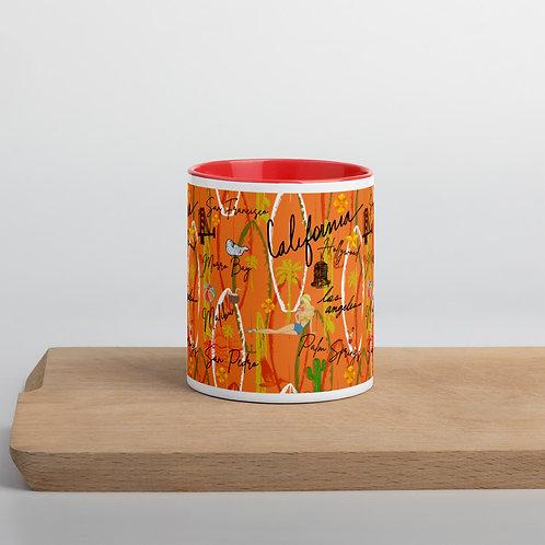 California Vintage Retro Orange Mug with Color Inside
