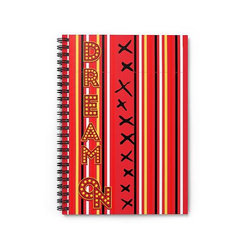 Spiral Notebook Dream On Red - Ruled Line