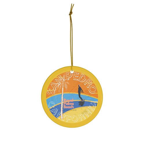 San Pedro California, Christmas Ornament, Holiday Gift, Royal Palms Beach, Surf