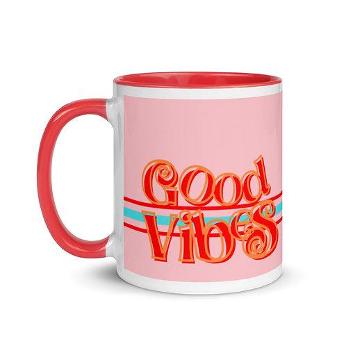 Good Vibes Pink Mug with Color Inside