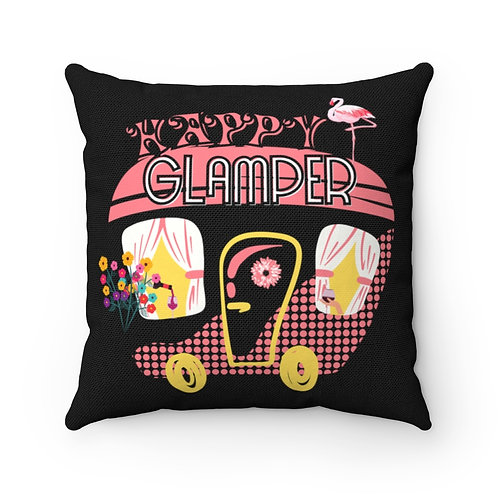Pillow And Cover | Retro Pink Camper | Happy Glamper | Black Camping Pillow