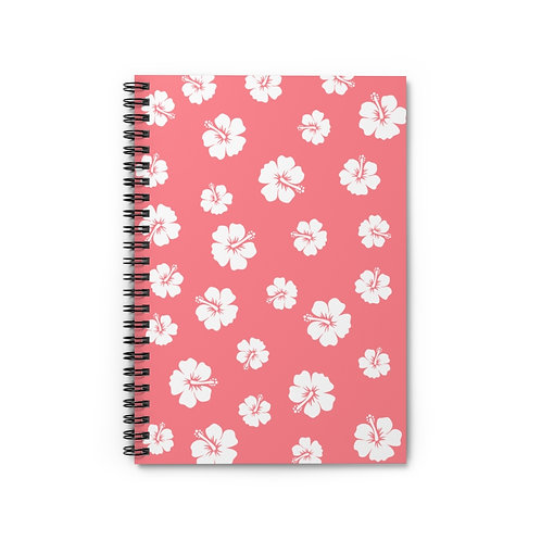 Spiral Notebook Pink White Hibiscus Flowers- Ruled Line