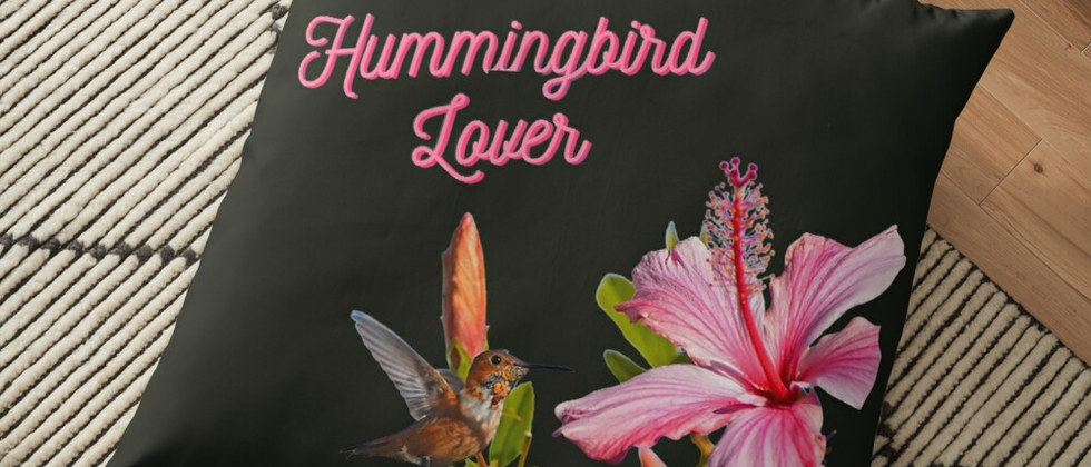 Hummingbird Black Floor Pillow