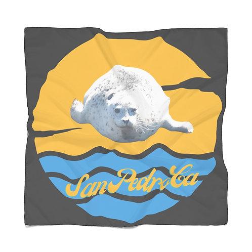 San Pedro California White Seal Black Poly Scarf
