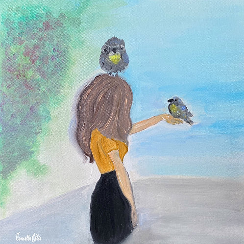 Note Square Card Print Of Oil Painting Talking With The Birds