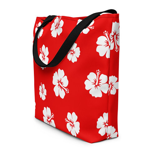 Red Beach Bag with white hibiscus flowers