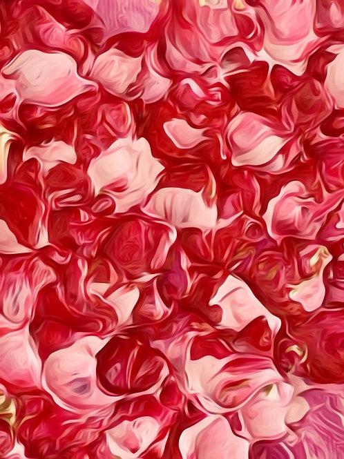 Note Card Pink And Red Petals Abstract Art