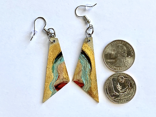 Mid-Century Abstract Painted Wood Earrings